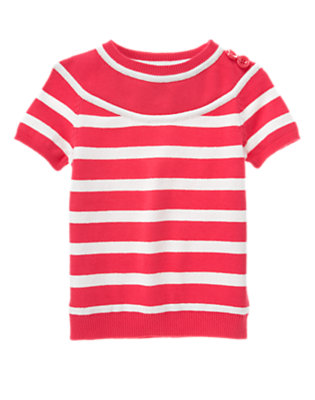 Girls Poppy Pink Stripe Button Shoulder Stripe Short Sleeve Sweater by Gymboree
