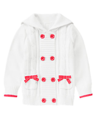 Girls White Bow Double Breasted Cable Sweater Cardigan by Gymboree