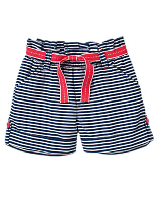 Girls Nautical Navy Stripe Stripe Belted Roll Cuff Short by Gymboree