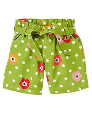 Girls Leaf Green Dot Poppy Dot Poppy Belted Short by Gymboree