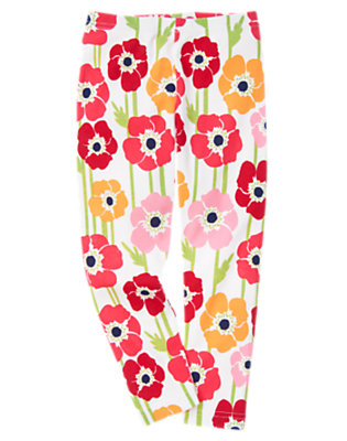 Girls White Poppy Poppy Legging by Gymboree
