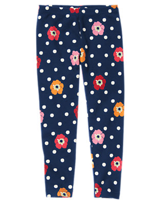 Girls Navy Dot Poppy Dot Poppy Legging by Gymboree