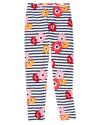 Girls Navy Stripe Poppy Stripe Poppy Legging by Gymboree