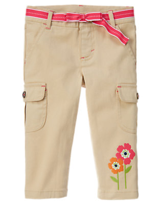 Girls Khaki Poppy Belted Cargo Capri Pant by Gymboree