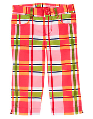 Girls Poppy Pink Plaid Plaid Pique Capri Pant by Gymboree