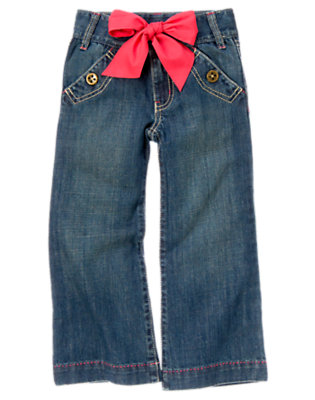 Girls Denim Belted Sailor Jean by Gymboree