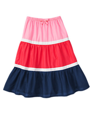 Girls Poppy Pink Colorblock Tiered Skirt by Gymboree