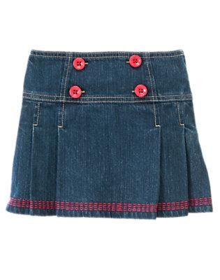 Girls Denim Button Pleated Jean Skort by Gymboree