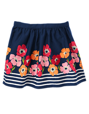 Girls Nautical Navy Poppy Poppy Stripe Skirt by Gymboree
