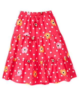 Girls Pink Dot Poppy Dot Poppy Tiered Skirt by Gymboree