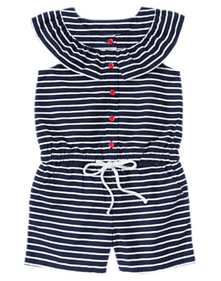 Girls Nautical Navy Stripe Nautical Stripe Romper by Gymboree