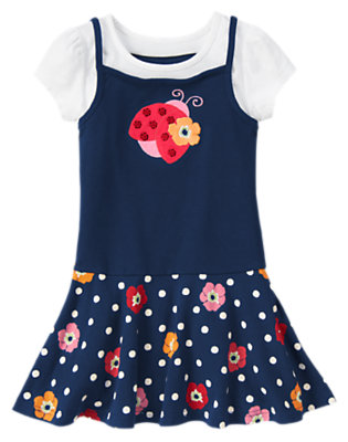 Girls Navy Dot Poppy Sequin Ladybug Dot Poppy Dress by Gymboree