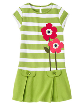 Girls Leaf Green Stripe Poppy Stripe Dress by Gymboree