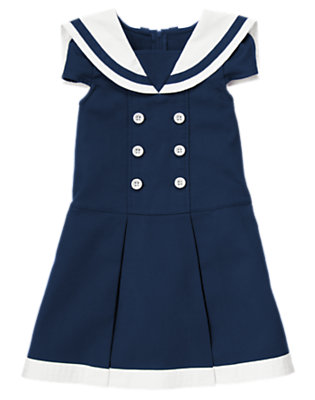 Girls Navy Blue Pleated Pique Sailor Dress by Gymboree