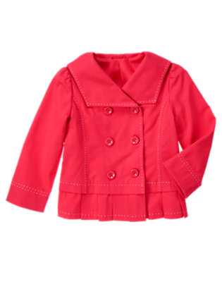 Girls Poppy Pink Double Button Sailor Jacket by Gymboree