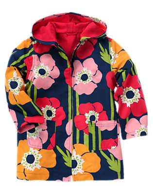 Girls Navy Poppy Poppy Hooded Raincoat by Gymboree