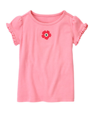 Spring Pink Poppy Ruffle Sleeve Tee by Gymboree