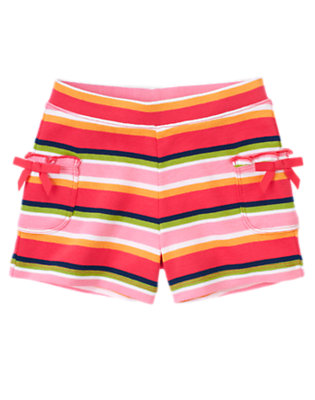 Girls Spring Pink Stripe Stripe Bow Pocket Short by Gymboree