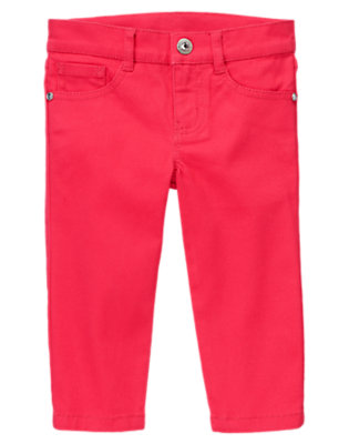 Girls Poppy Pink Gem Capri Jean by Gymboree