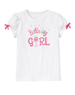 Girls White Gem Bow Birthday Girl Tee by Gymboree