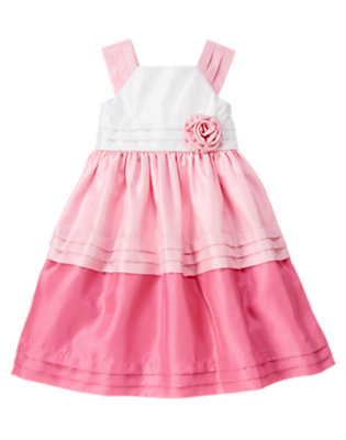 Girls Peony Pink Rosette Colorblock Duppioni Dress by Gymboree