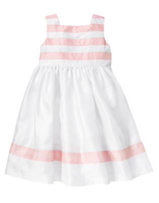 Girls White Stripe Dress by Gymboree