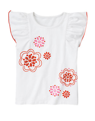 White Beaded Flower Flutter Sleeve Tee by Gymboree