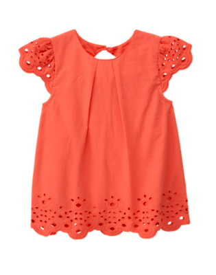 Girls Orange Spice Eyelet Swing Top by Gymboree