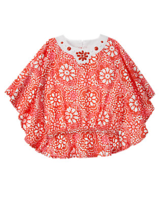 Girls Orange Spice Floral Beaded Caftan Top by Gymboree