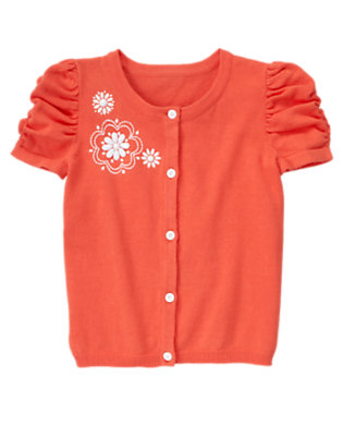 Girls Orange Spice Beaded Flower Sweater Cardigan by Gymboree