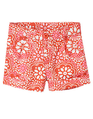 Girls Orange Spice Floral Floral Cuff Short by Gymboree