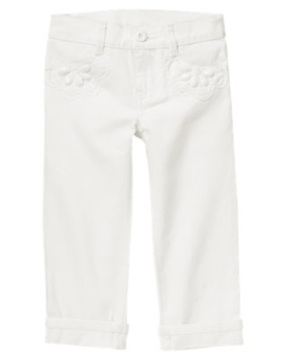 Girls White Beaded Cropped White Jean by Gymboree