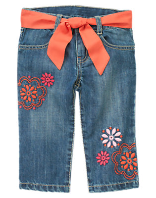 Girls Denim Flower Belted Capri Jean by Gymboree