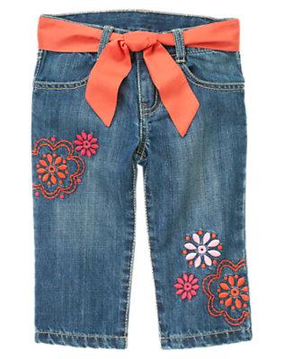 Girls Denim Flower Belted Capri Jean by Gymboree