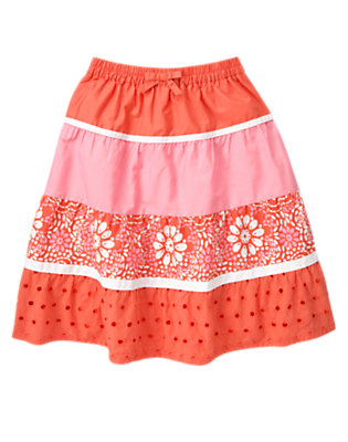 Girls Orange Spice Floral Eyelet Mixed Print Tiered Skirt by Gymboree