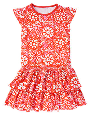 Girls Orange Spice Floral Floral Tiered Dress by Gymboree