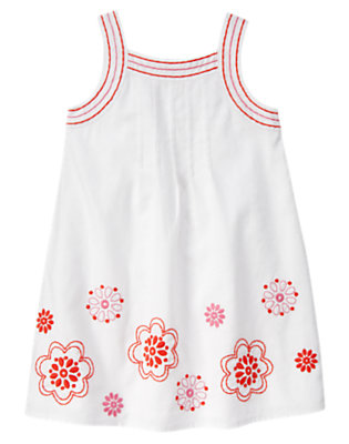 Girls White Embroidered Flower Linen Blend Dress by Gymboree
