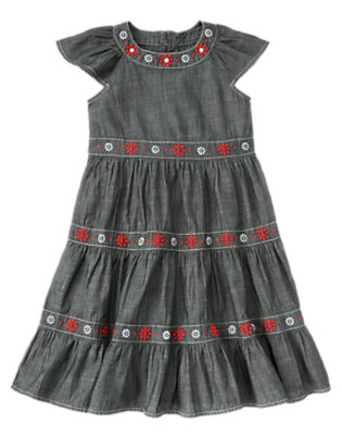 Girls Chambray Flower Chambray Tiered Dress by Gymboree