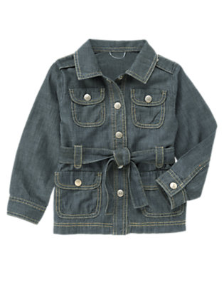 Girls Chambray Chambray Belted Safari Jacket by Gymboree