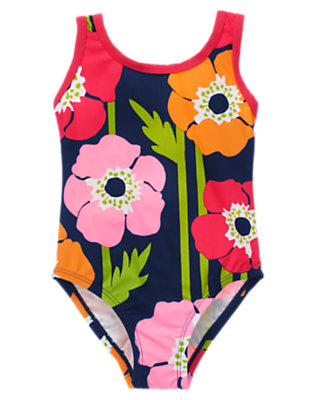 Girls Navy Poppy Poppy One-Piece Swimsuit by Gymboree
