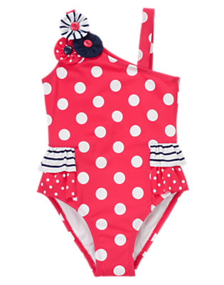 Poppy Pink Dot Button Dot Stripe One-Piece Swimsuit by Gymboree