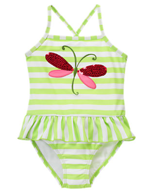 Girls Bright Mint Green Stripe Sequin Dragonfly Stripe One-Piece Swimsuit by Gymboree