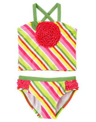 Girls Fern Green Stripe Stripe Ruffle Flower Tankini by Gymboree