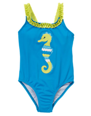 Girls Seahorse Blue Seahorse One-Piece Swimsuit by Gymboree