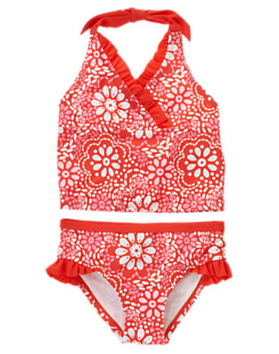 Orange Spice Floral Floral Ruffle Tankini by Gymboree