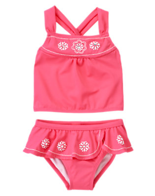Girls Flamingo Pink Gem Flower Tankini by Gymboree
