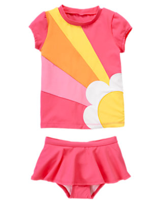 Girls Flamingo Pink Daisy Stripe Rash Guard Set by Gymboree