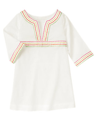 Girls White Pickstitched Swim Cover-Up by Gymboree