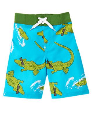 Turquoise Alligator Swim Trunk by Gymboree