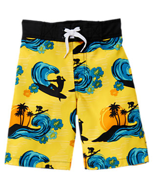 Boys Sunshine Yellow Surfer Swim Trunk by Gymboree